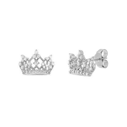 Imagen de Sterling Silver Cubic Zirconia Crown Post Earring