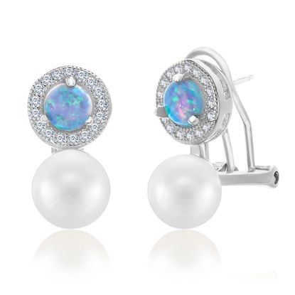 Picture of Blue Opal & Genuine Cubic Zirconia Simulated Pearl Clip Earring in Sterling Silver