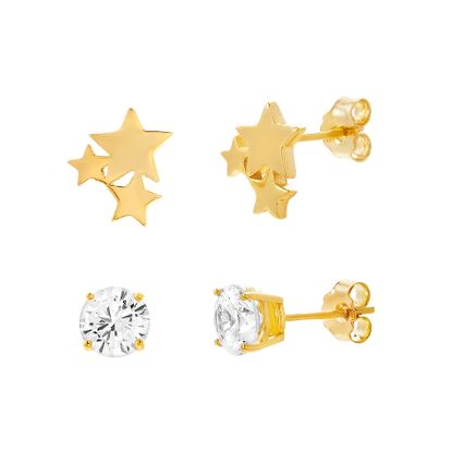 Imagen de Sterling Silver 2pc Cubic Zirconia Stud/Triple Star Stud Post Earring