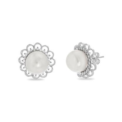 Imagen de Sterling Silver Pearl W/ Cubic Zirconia Floral Design Post Earring