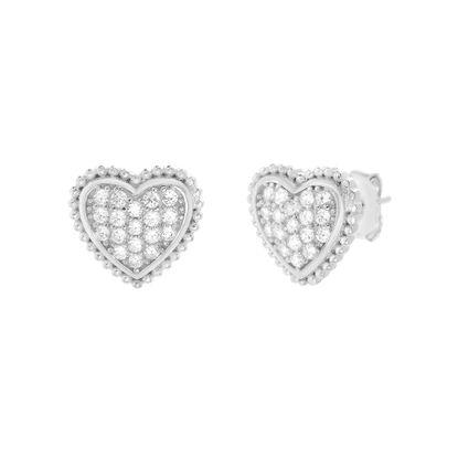 Imagen de Cubic Zirconia Heart Shaped Stud Earring in Sterling Silver