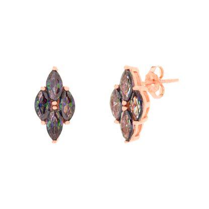 Imagen de Sterling Silver Mystic Glass Diamond Shaped Post Earring