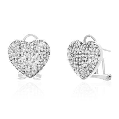 Imagen de Cubic Zirconia Heart Shaped Post Clip Earring in Sterling Silver