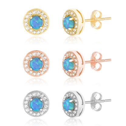 Imagen de Tri-Tone Sterling Silver Blue Opal / Cubic Zirconia Round Border Trio Post Earring Set