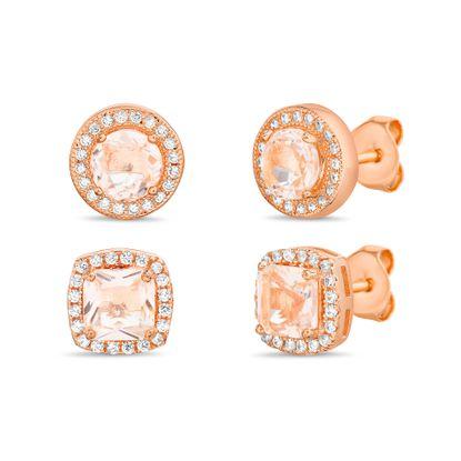 Imagen de Sterling Silver Princess Cut/Round Simulated Morganite/Cubic Zirconia Duo Stud Earring Set
