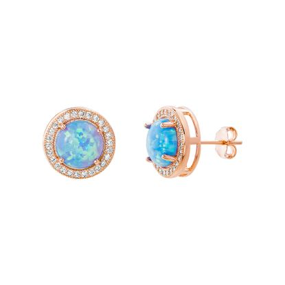 Imagen de Sterling Silver Blue Opal/Cubic Zirconia Border Circle Post Earring