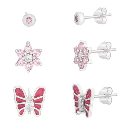 Imagen de Pink Butterfly/Flower/Bezel Trio Baby Earring Set in Sterling Silver