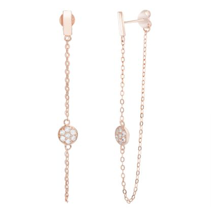 Imagen de Sterling Silver Bar Stud Dangling Cubic Zirconia Disc Cable Chain Front to Back Earring