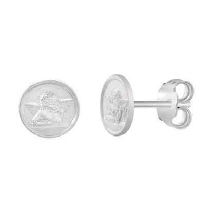 Imagen de Sterling Silver Nino Oval Disc Stud Post Earrings