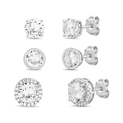 Imagen de Rhodium Plated Sterling Silver Cubic Zirconia Halo & Bezel Stud Post Trio Earrings