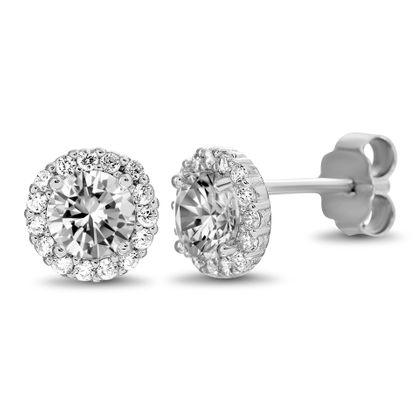 Imagen de Cubic Zirconia Cross Huggie Style Hoop Earrings in Rhodium over Sterling Silver
