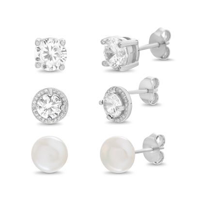 Imagen de Stelring Silver Cubic Zirconia 3 Piece Pearl and 4 Prong Halo Ball/Crystal Stud Post Earring Set