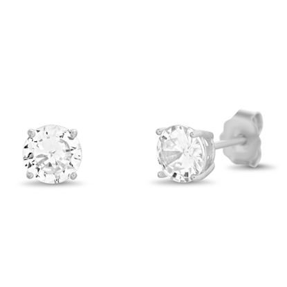 Imagen de Round Solitaire Cubic Zirconia 6mm Stud Earrings in Rhodium over Sterling Silver