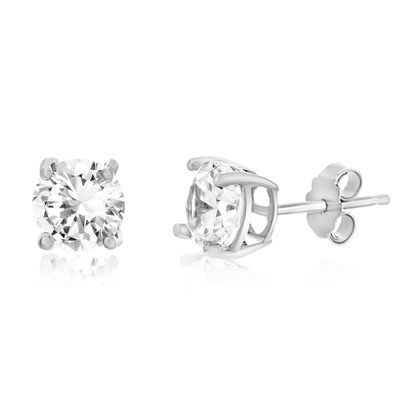Picture of 8mm Cubic Zirconia Stud Earring in Sterling Silver