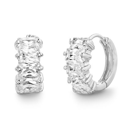 Imagen de Baguette Shaped Cubic Zirconia Huggie Hoop Earrings in Rhodium over Sterling Silver
