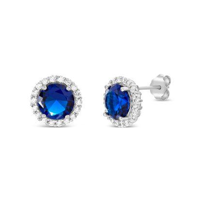 Imagen de Sterling Silver Blue/Clear Cubic Zirconia Post Earring