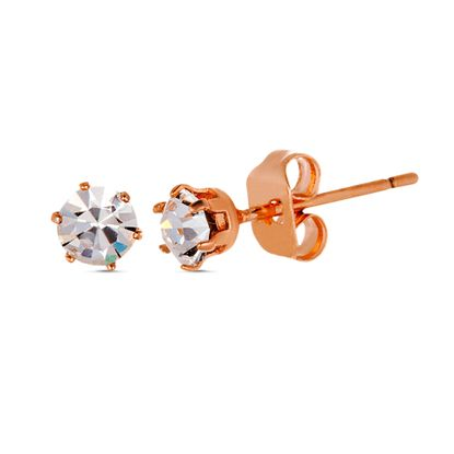 Picture of Rose-Tone Brass 4mm Cubic Zirconia Post Earring