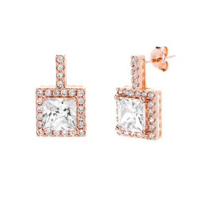 Imagen de Sterling Silver Round Halo Cubic Zirconia Square Post Earring