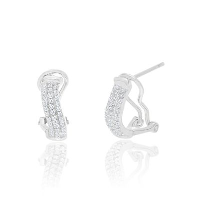 Imagen de Diamond Accent Huggie Hoop Earrings in Rhodium over Brass