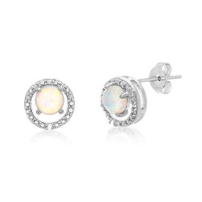 Imagen de Silver-Tone Brass Round 4 Prong Cubic Zirconia Opal Post Earring
