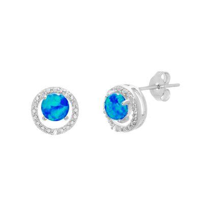 Imagen de Silver-Tone Brass Round 4 Prong Cubic Zirconia Blue Opal Post Earring