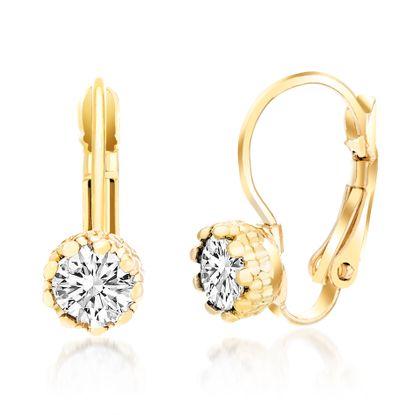 Imagen de Gold-Tone Brass Cubic Zirconia Lever Back Earring