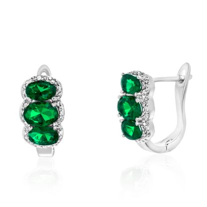 Imagen de Silver-Tone Brass Diamond Accent 3 Oval Emerald Cubic Zirconia In and Out Earring
