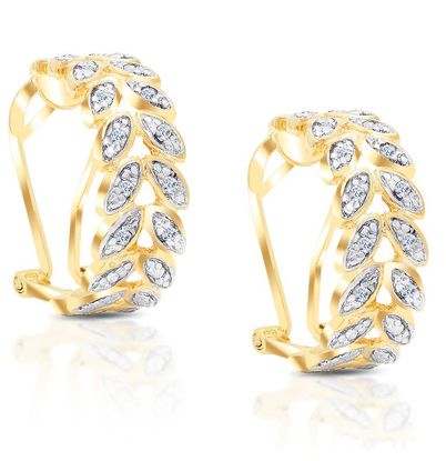 Picture of Round Diamond Accent Leaf Design Hoop Earrings in Yellow Gold over Brass