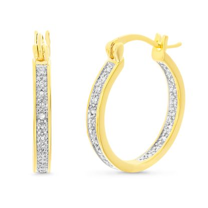 Picture of Diamond Accents Single Line Hoop Earrings in Yellow Gold over Brass 28mm