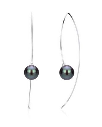 Imagen de Silver Tone Brass Black Onyx Ball Threader Earring