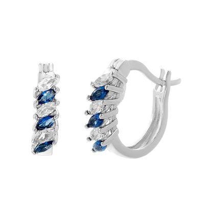 Imagen de Silver-Tone Brass Marquise/Blue SPPR Hoop Earring