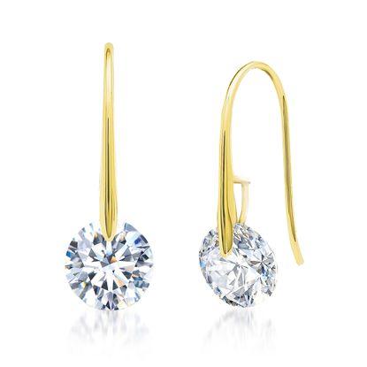 Imagen de Gold-Tone Brass Cubic Zirconia Hook Earring
