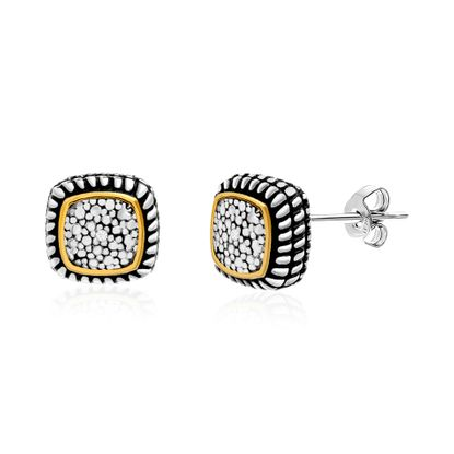 Picture of Diamond Accent Cushion Shaped Rope Textured Stud Earrings in Rhodium and Gold over Brass