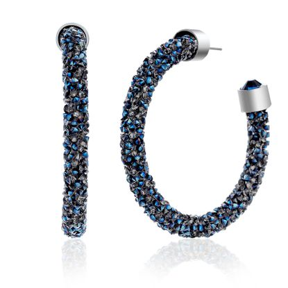 Imagen de Silver-Tone Brass Wrapped Blue Crystal C-Hoop Post Earring