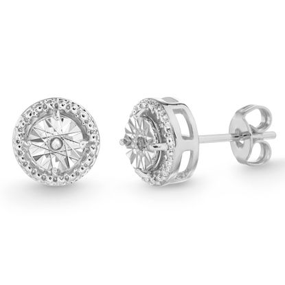 Imagen de Diamond Accent Round Stud Earrings in Rhodium over Brass