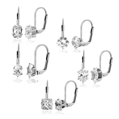 Picture of Gold-Tone Brass 5 piece Cubic Zirconia Lever back Earring