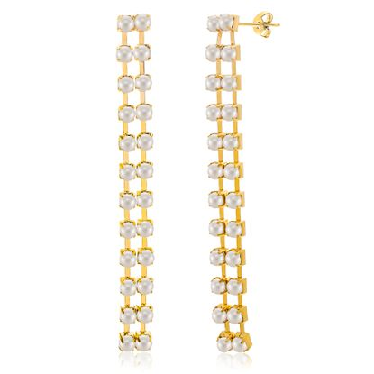 Imagen de Gold Plated Freshwater Pearl Drop Post Earring