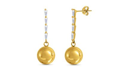 Imagen de Gold Plated Brass Baguette Glass Bar Ball Drop Post Earring