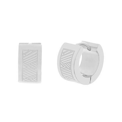 Imagen de Silver-Tone Stainless Steel Huggie Earrings