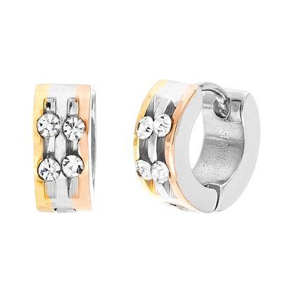 Imagen de Tri-Tone Stainless Steel 2 Row Cubic Zirconia 10mm Huggie Earrings