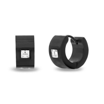 Picture of Black-Tone Stainless Steel 7X13 Hoop With Cubic Zirconia Huggie Earrings