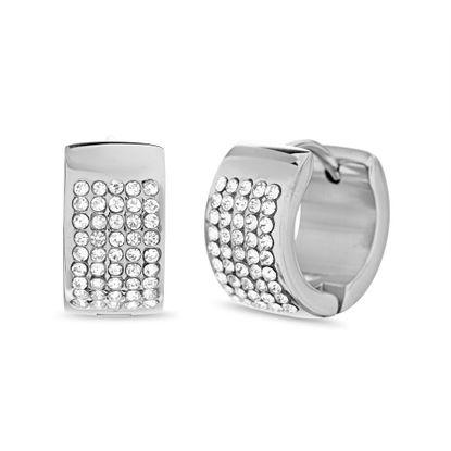 Imagen de Silver-Tone Stainless Steel Multirow Cubic Zirconia Huggie Earring