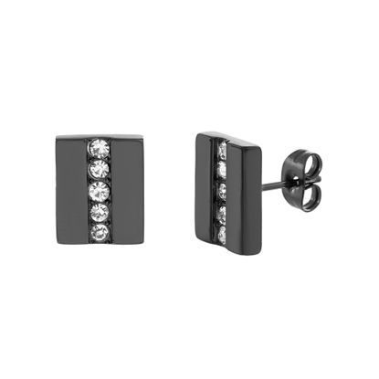 Imagen de Black-Tone Stainless Steel IP Rectangle Cubic Zirconia Row Earrings