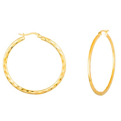Imagen de Gold-Tone Stainless Steel 40mm Round Hammered Flat Hoop Earring