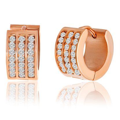 Imagen de Rose-Tone Stainless Steel 7X13 Huggie Polished Earrings