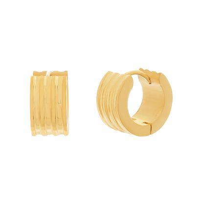 Imagen de Gold-Tone Stainless Steel 14mm Ribbed Huggie Earrings