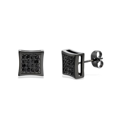 Picture of Black-Tone Stainless Steel Black Pave Crystal Square Post Earring