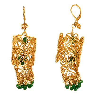Imagen de Gold-Tone Stainless Steel Green Stone Filigree Dangling Earring