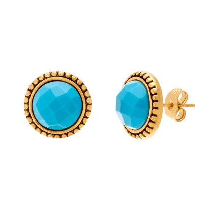 Imagen de Gold-Tone Stainless Steel Turquoise Stone Beaded Border Post Earring