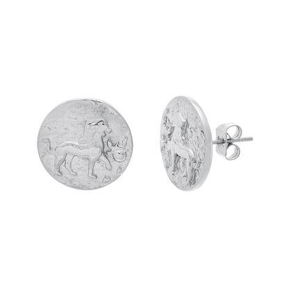 Imagen de Silver-Tone Stainless Steel 14MM Lion Round Post Earring